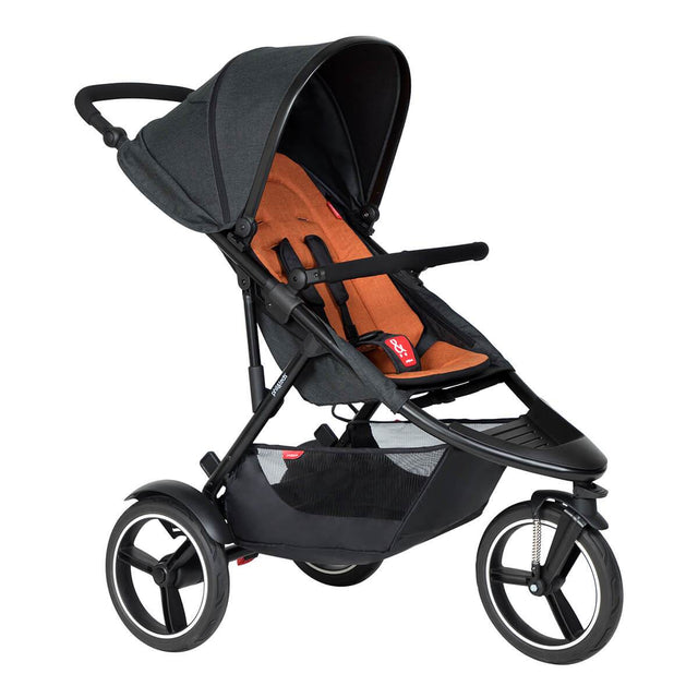 phil&teds dash inline buggy in rust orange colour