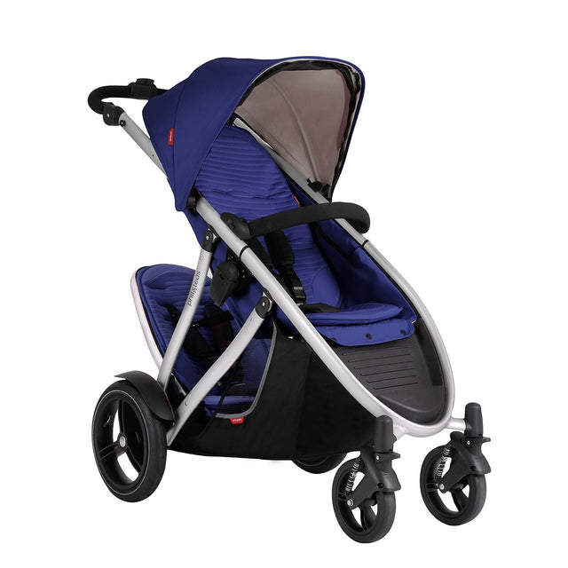 phil&teds verve buggy with double kit in cobalt 3/4 view_cobalt