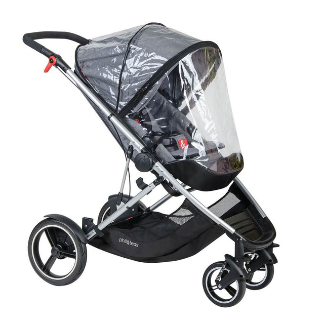 phil&teds voyager adaptable modular stroller grey marl fitted voyager storm cover 3qtr view_default