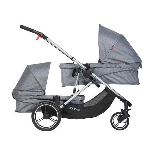 phil&teds voyager double kit and carrycot in grey marl side view_grey marl