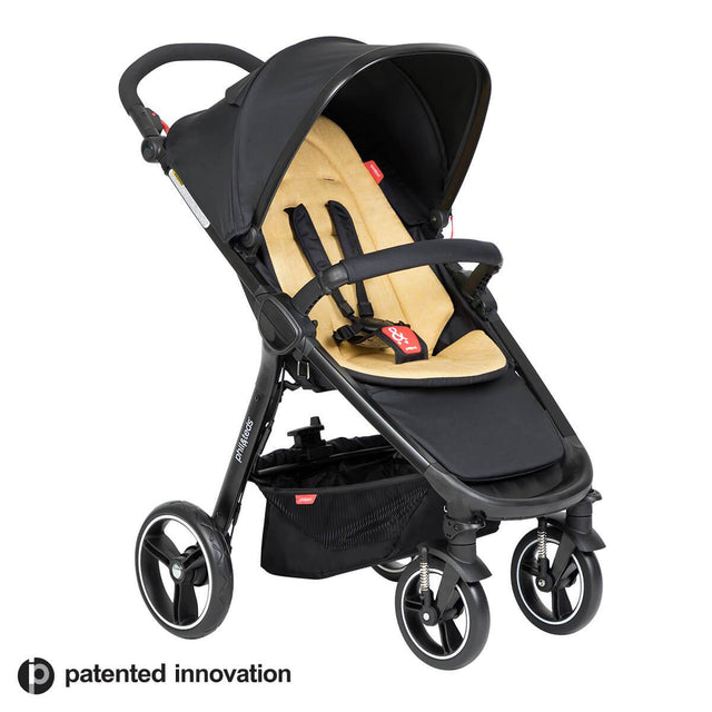 phil&teds compact smart buggy with butterscotch liner 3/4 view_butterscotch