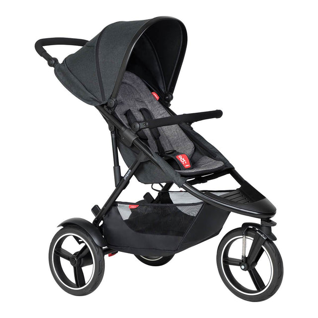 phil&teds dash buggy in charcoal 3/4 view_charcoal