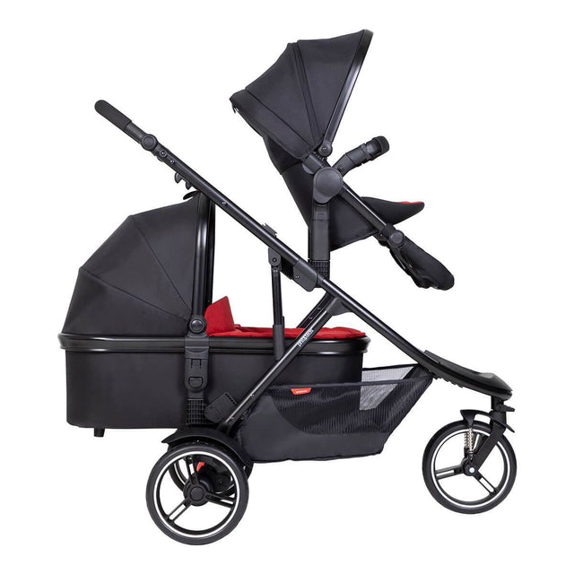 phil&teds dot buggy with parent facing double kit and snug carrycot in rear