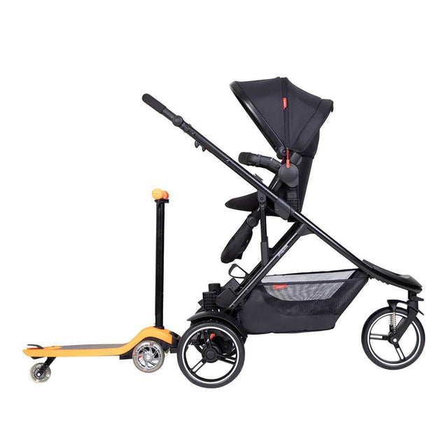 phil&teds dot inline buggy with parenting facing double kit and freerider stroller board in rear