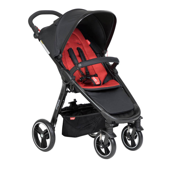 phil&teds compact smart buggy with chilli liner 3/4 view_chilli
