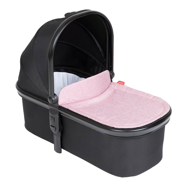 phil&teds snug carrycot with blush lid 3/4 view_blush