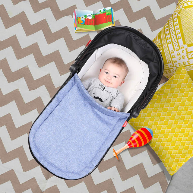 phil&teds snug carrycot with child snuggly inside top view_charcoal