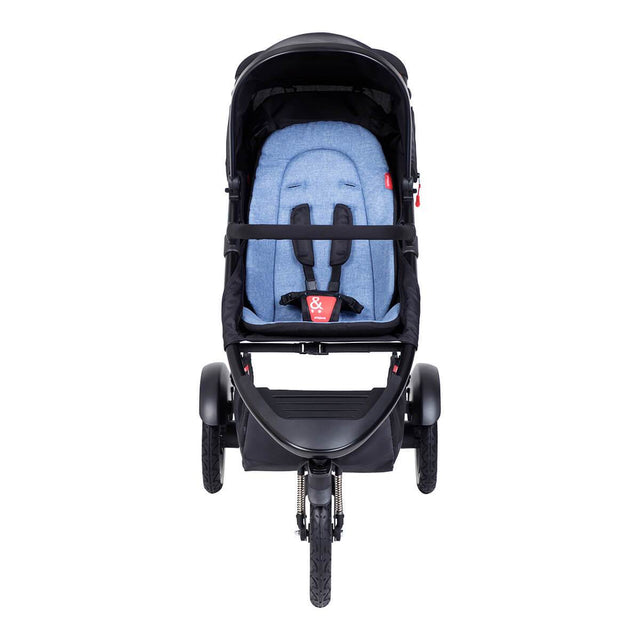 phil&teds sport inline buggy in sky blue front view_sky