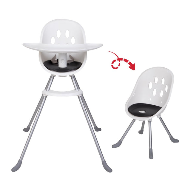 phil&teds award winning poppy high chair showing dual high chair and my chair modes_black seat liner