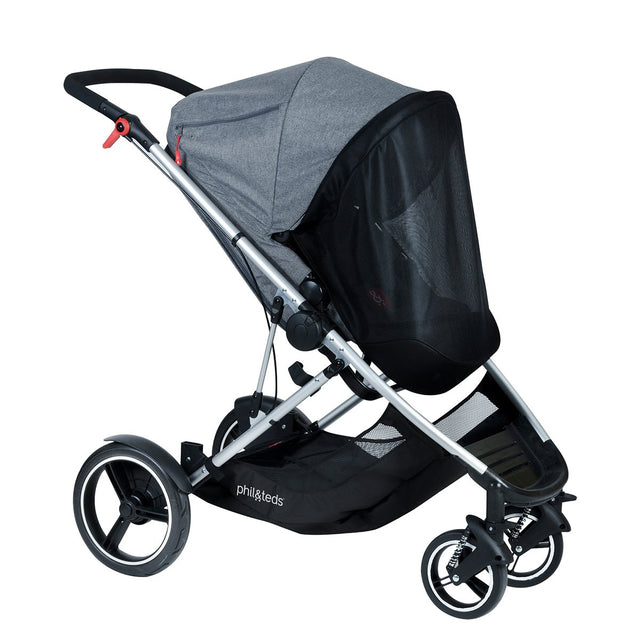 phil&teds voyager adaptable modular stroller grey marl fitted voyager sun cover 3qtr view_default