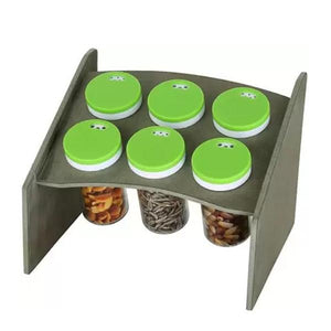 094 Multipurpose Wooden Base Stand Spice Rack Masala Organiser - 6 Pcs