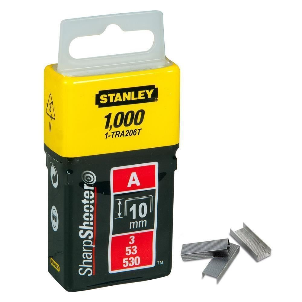 Stanley 10mm A-Type Light Duty Staples (1000 Pieces)