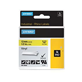 Dymo Label vinyl black on yellow 12mm