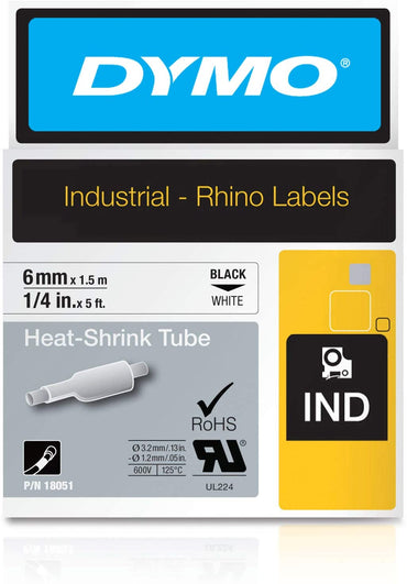Dymo heat shrink tubing black on white