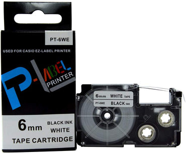 P-LABEL Black Ink, White Tape Cartridge for Casio EZ-LABEL Printers