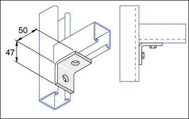 Unistrut 2 Hole Steel Angle Bracket (47 x 50mm)