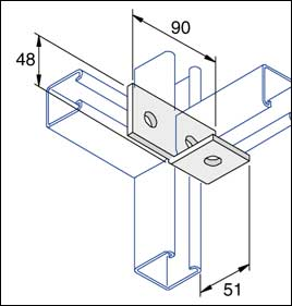 Unistrut 90 Degree Angle Bracket 3 Hole