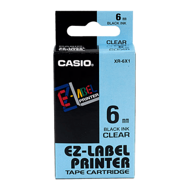 Casio Label Printer Tape (Black on Clear); 8m
