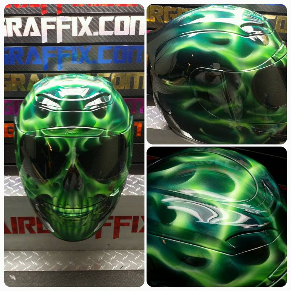 Green Flaming Skull