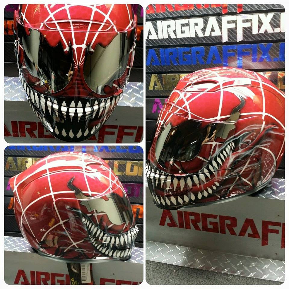 Custom Painted Carnage Spiderman Mutation Motorcycle Helmet by airgraffix
