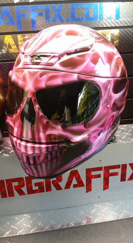 Pink True Fire Flaming Skull