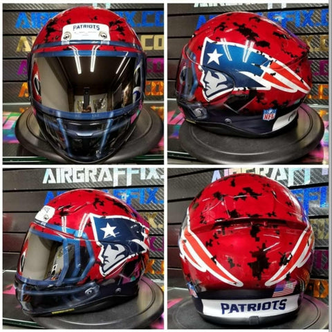 Custom Red Digital Camo NE Patriots Helmet