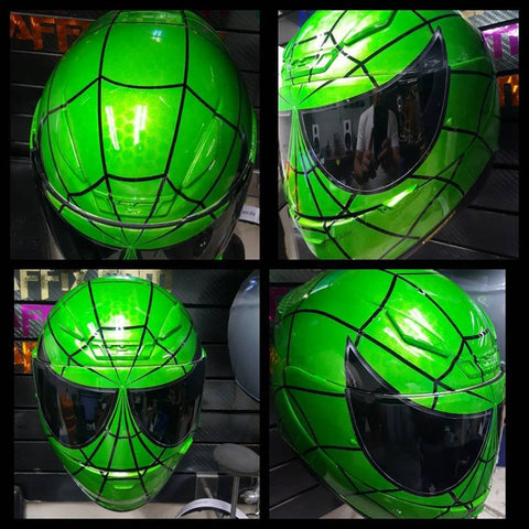 Candy Green Spiderman Custom Helmet