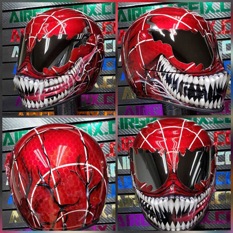 Carnage Spiderman Mutation on Simpson Outlaw Bandit Helmet Limited Edition