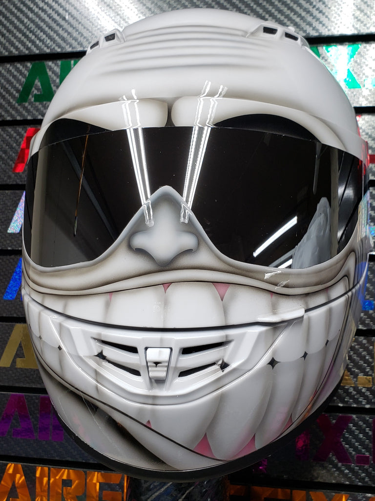 Custom Painted White Smiling Face Helmet by airgraffix