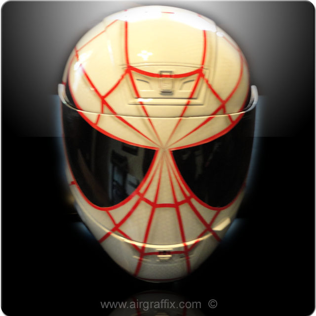 White and Red Spiderman Helmet