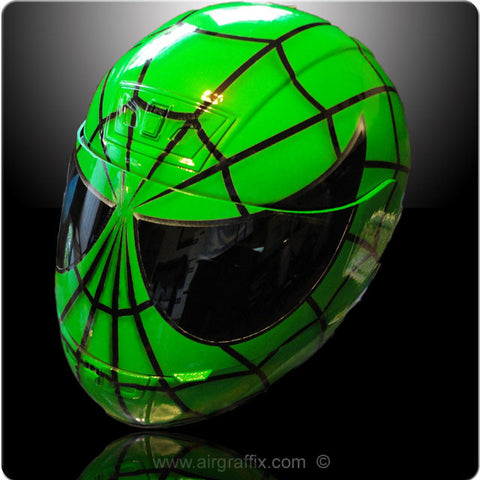 Green Spiderman Helmet Custom painted