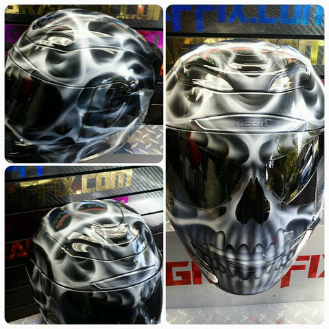 White TrueFire Flaming Skull