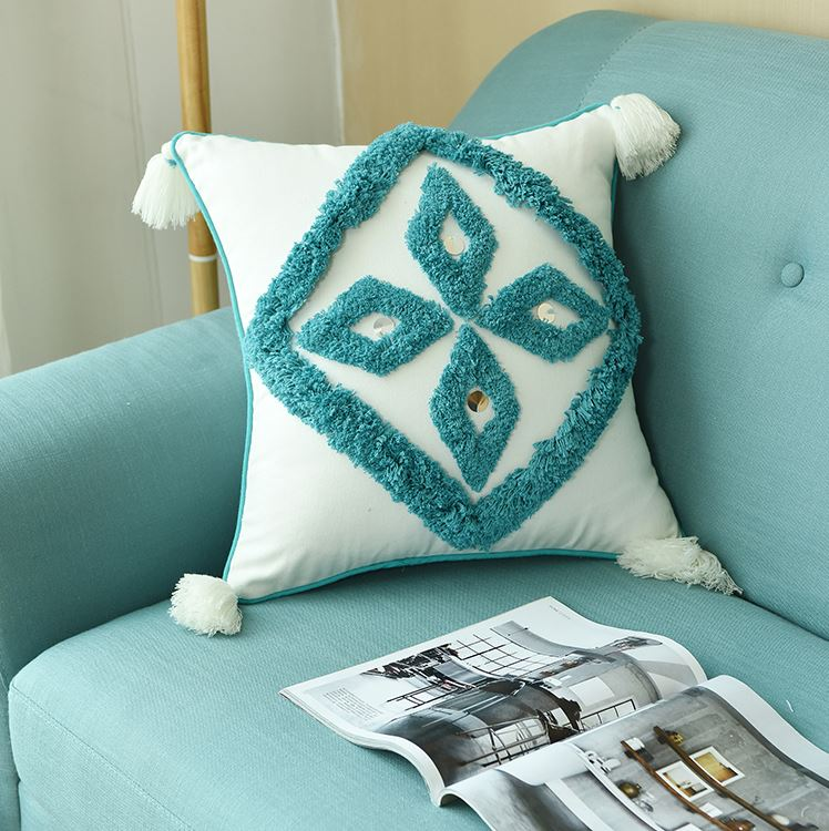 Coussin Inspiration Berbère turquois Design Scandinave - MAZIR