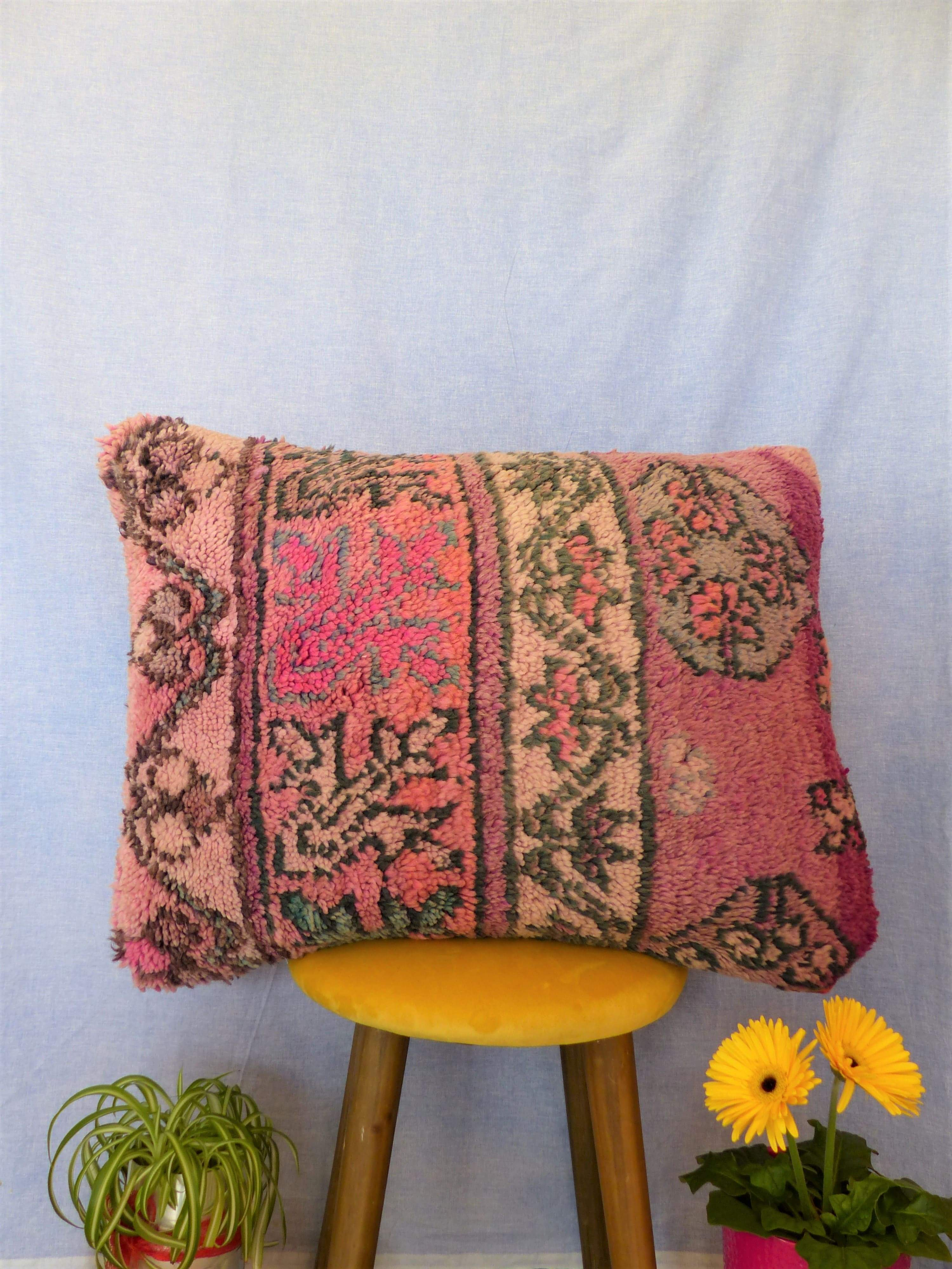 Coussin Boujaad Rose | Coussin vintage berbère | MAZIR