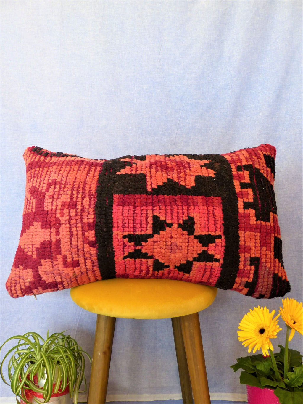 Coussin Boujaad rouge et rose | MAZIR