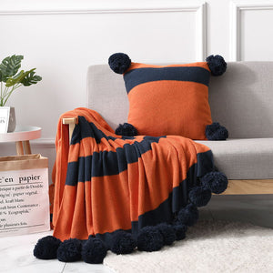 plaid pompon orange