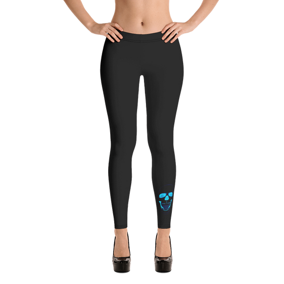 Black Leggings with Blue Sugar Skull