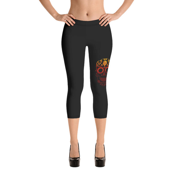 Sugar Skull Black Capri Leggings - Yoga Pants