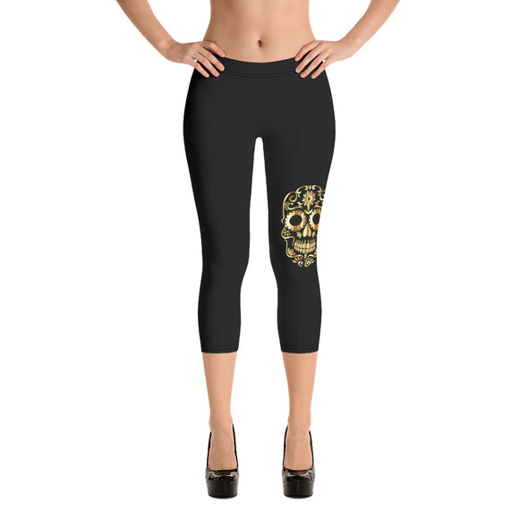 Gold Sugar Skull on Black Capri Leggings -Yoga Pants