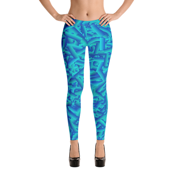 Athleisure Blue Leggings - Geometric Pattern