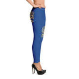 Electric Blue Leggings with Gold Sugar Skull - Yoga Pants