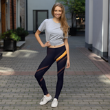 Athleisure Copper Stripe on Black Leggings