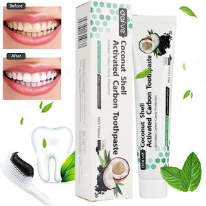 100% Natural Coconut Shell Activated Charcoal/Carbon Teeth Whitening Toothpaste - Mint Flavor