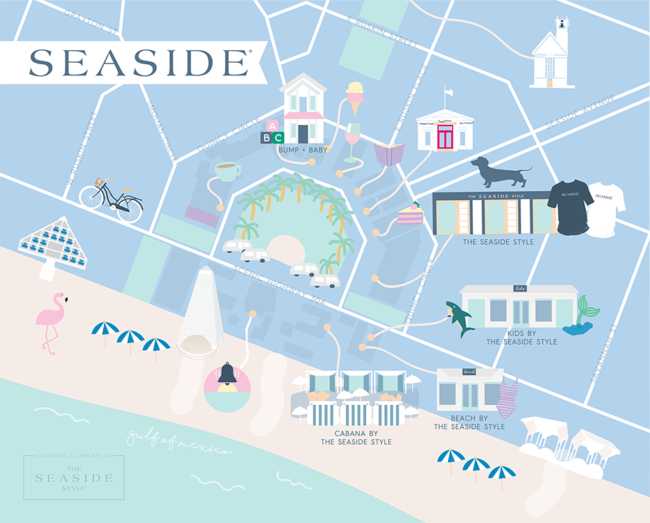 Hand-drawn map of Seaside by Jami Ray