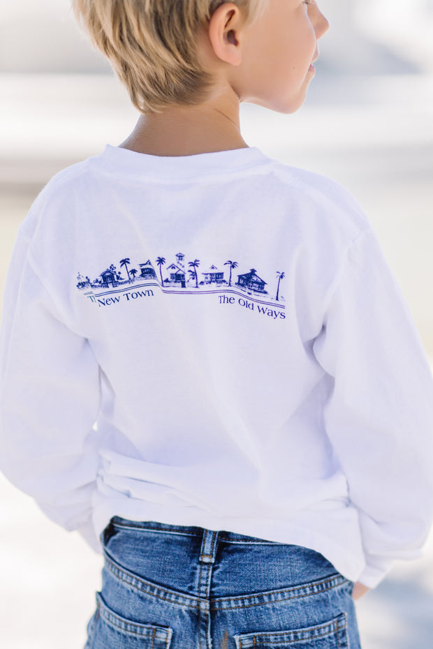 Youth White Long Sleeve Newtown Tee