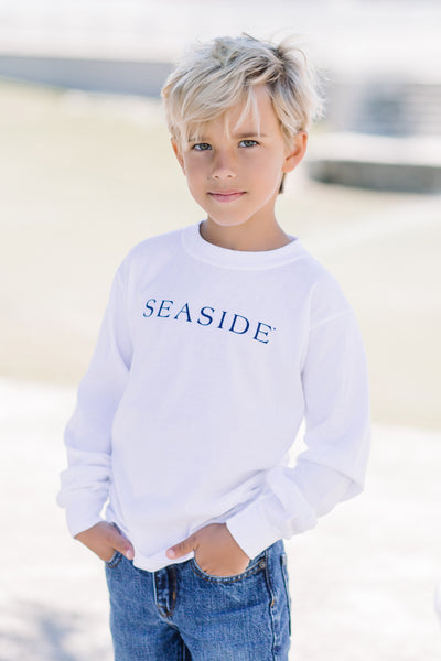 Youth White Long Sleeve Newtown Seaside Tee