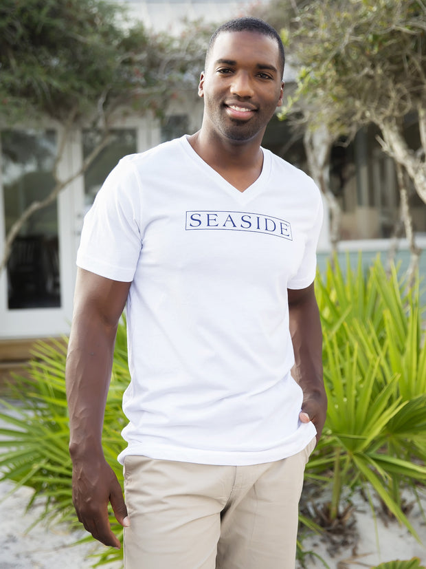 White Seaside V-Neck Vintage Tee
