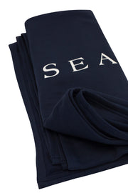 Navy Seaside Sweatshirt Blanket