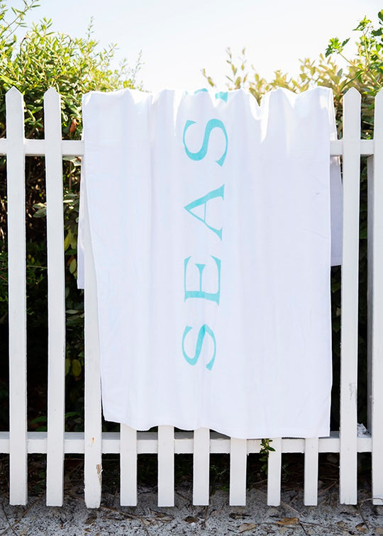 White and Mint Seaside Towel