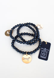 Navy Promise Bracelet with Bud Disc